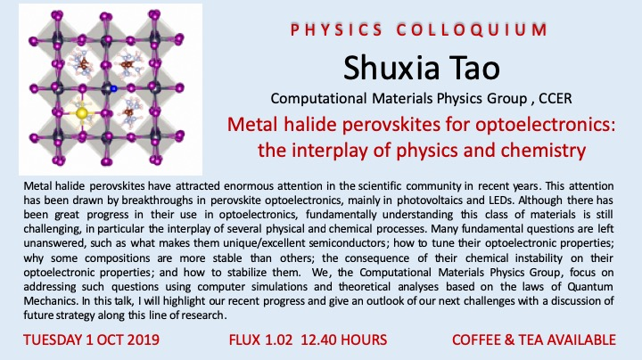 Physics colloquium@Applied Physics by Shuxia Tao